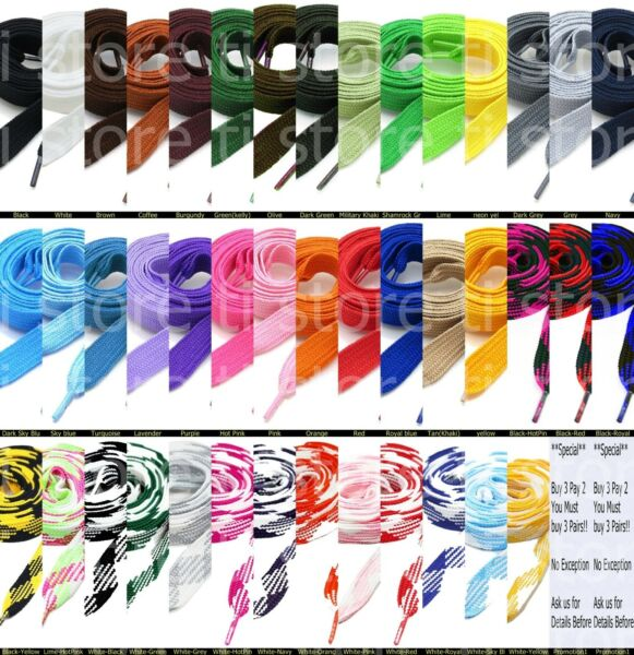 Fat Shoelaces Thick Flat 3 4quot; Wide Shoelaces Solid Color for All Shoe Types $4.79