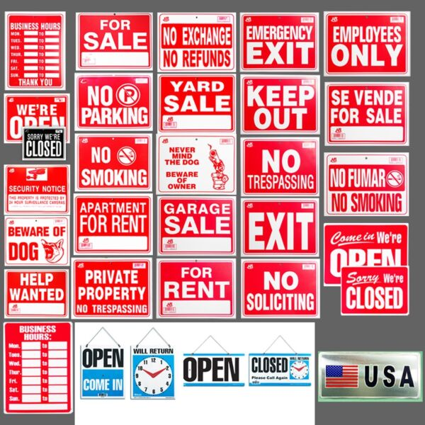 1x Sign Business H Open Closed Security Notice Beware Dog No Parking amp; MORE $5.49