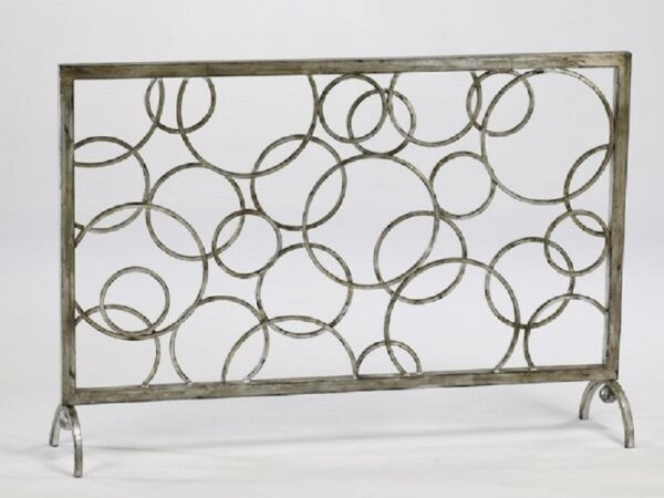 Contemporary Circles Fireplace Fire Screen Iron Modern Circle 02244 Cyan Design