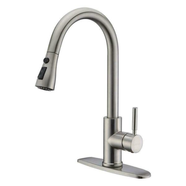 Single Handle Kitchen Sink Faucet Pull Out Sprayer Brushed Nickel With 10
