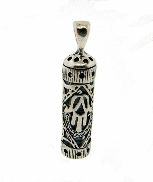 Kabalah hand Mezuzah pendant  charm with prayer in sterling silver new