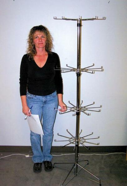 NEW SILVER CHROME 5 FOOT HEAVY DUTY SPINNING DISPLAY FLOOR RACK wire metal jl358 $79.95