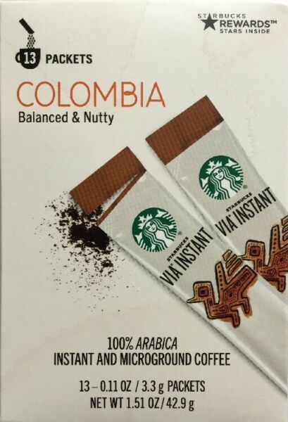 STARBUCKS VIA INSTANT Medium Roast Coffee Columbia 13 Packets NEW!