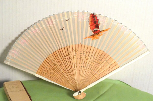 Vintage Old Wooden Silk Woman#x27;s Asian Wood Fan Mini Provenence HDA921134 47k $38.00