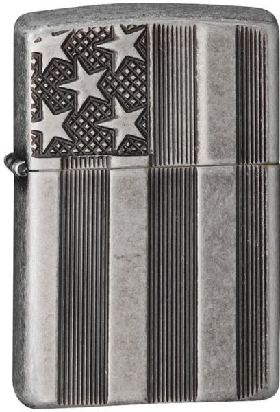 Zippo Armor Windproof Antique SIlver Plate Deep Cut Flag 28974 New In Box