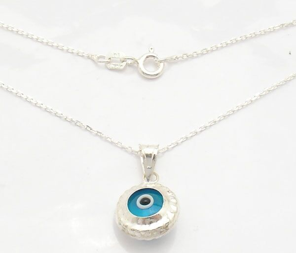 Round Evil Eye Luck Charm Pendant Cable Chain 925 Sterling Silver 16