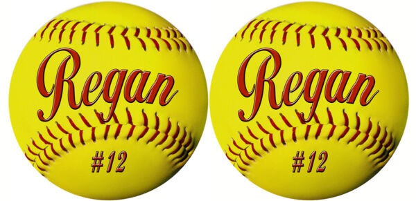 2 Softball Decals Bumper Sticker Outdoor In Personalize Gifts Many Colors 4quot; $6.99