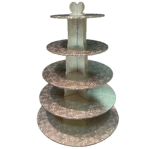Silver Foil Covered 5 Tier Cupcake Stand Tower