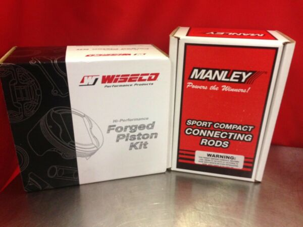 WISECO 85MM 11.5:1 HONDA B20VTEC PISTONS WITH MANLEY H-BEAM CONNECTING RODS