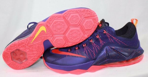 NEW Mens NIKE Lebron XII Low 724557 565 Court Purple Crimson Sneakers Shoes