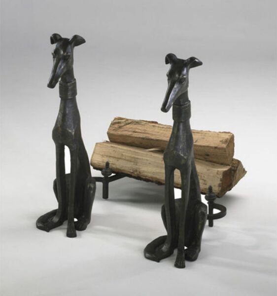 Greyhound Dog Fireplace Andirons Pair Bronze Finish Cast Iron Hearth Decor 24