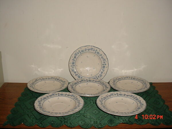 6 PC TABLEMATES quot;FLOWER GARDENquot; 6 1 8quot; SAUCERS BLUE ROSE #761 MALAYIA CLEARANCE