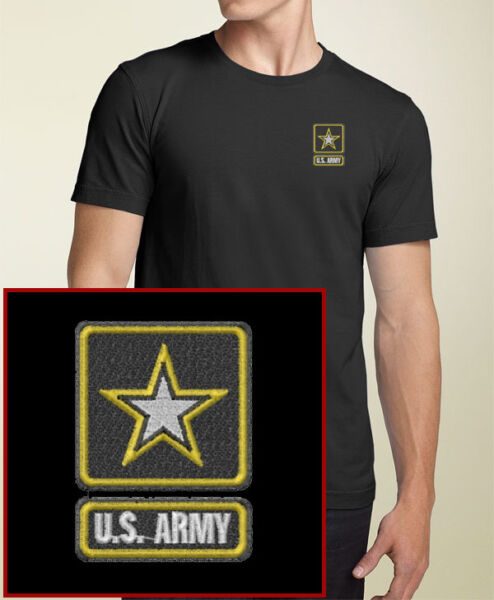 US ARMY EMBROIDERED Military Logo Black T Shirt New