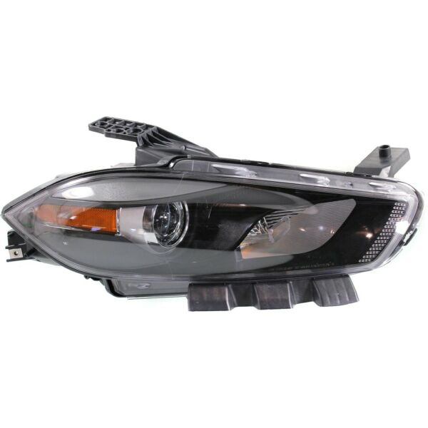 Headlight For 2013 2014 2015 Dodge Dart Right Black Housing With Bulb