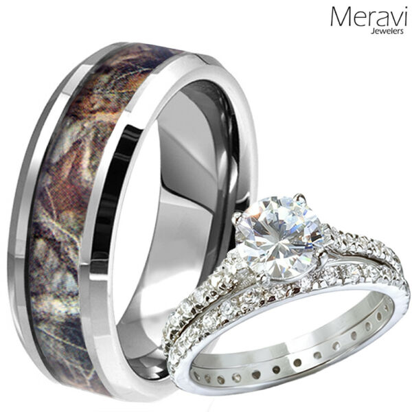 Mens Tungsten Oak Forest Mossy Camo Band Womens 2pc Sterling Silver Wedding Ring