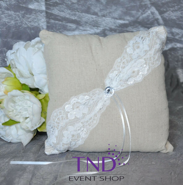 BURLAP RUSTIC FLOWER GIRL BASKET RING PILLOW WITH LACE amp; CRYSTAL RHINESTONES