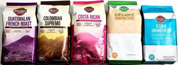 Whole Bean Coffee Espresso French Roast Supremo Costa Rican Sumatra or Kona