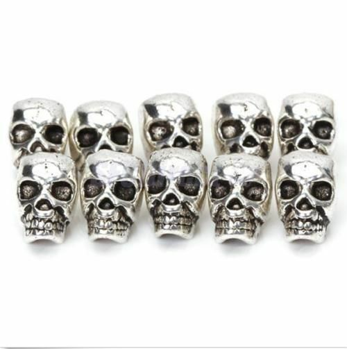 10 Tibet Silver Antique Steampunk Skull Spacer Bead DIY JEWELRY CRAFT FINGDINGS $3.37