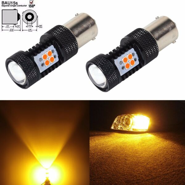 JDM ASTAR 2x 7507 1156PY BAU15S Super Amber 3030 SMD LED Turn Signal Light Bulbs