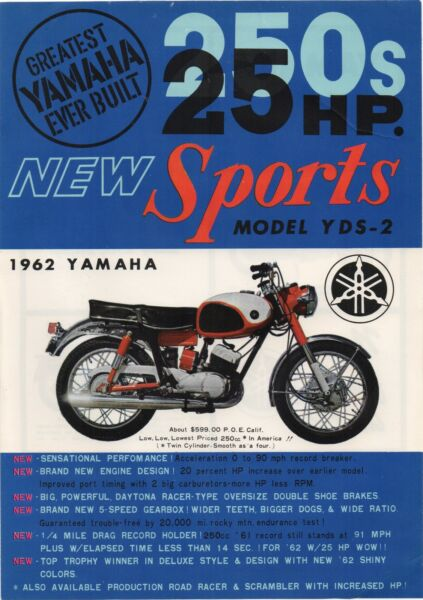 1962 Advertising Flier for the Yamaha Sports Model YDS 2 Motorcycle $39.99