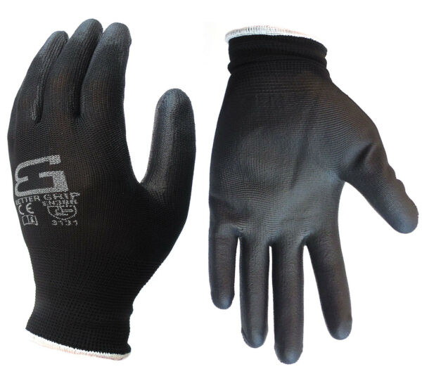 6 Pairs Better Grip Ultra-Thin Polyurethane Palm Coated Glove -BGSPU-BK