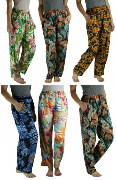 Casual Cotton Print Beach Cover Up Elastic Linen Style Comfy Lounge Pants