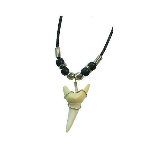 LARGE SHARK TOOTH NECKLACE mens womens jewelry JL448 sharks teeth silver beads $4.95