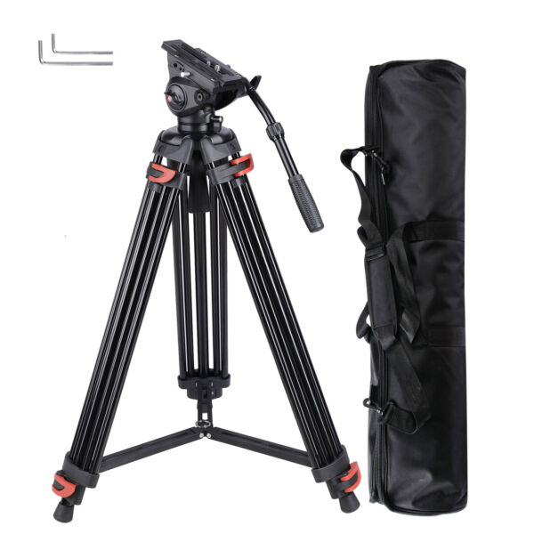 71quot; Pro Camera Tripod for DV DSLR Video Stand Aluminum Fluid Pan Head With Bag