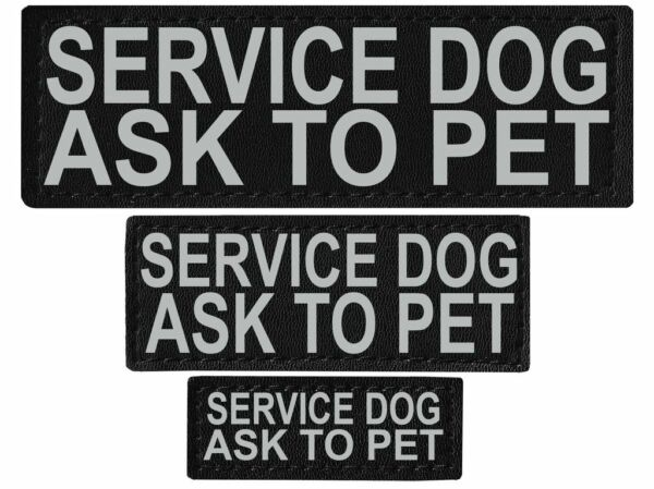 SERVICE DOG ASK TO PET  Patch Reflective Label Tag for Dog Harness Service