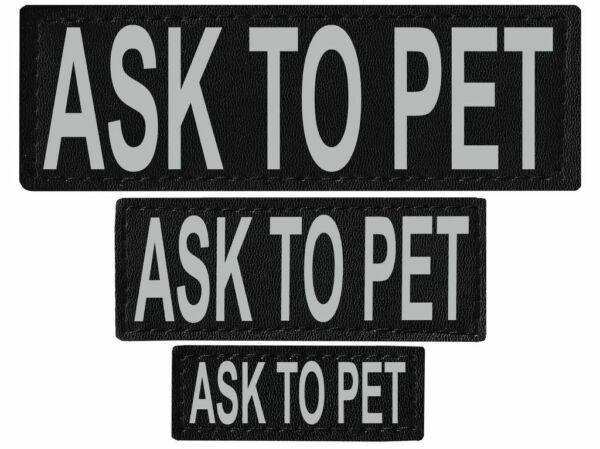 ASK TO PET Patch Reflective Extra Label Tag for Dog Harness Service $7.99