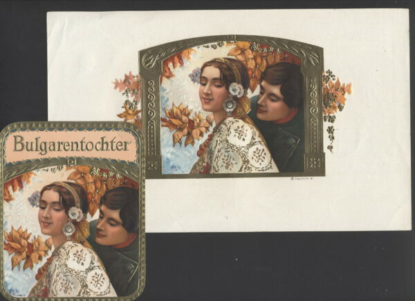 MB4253 SET OF 2  VINTAGE CIGARBOX LABELS BULGARENTOCHTER YOUNG BULGARIAN COUPLE