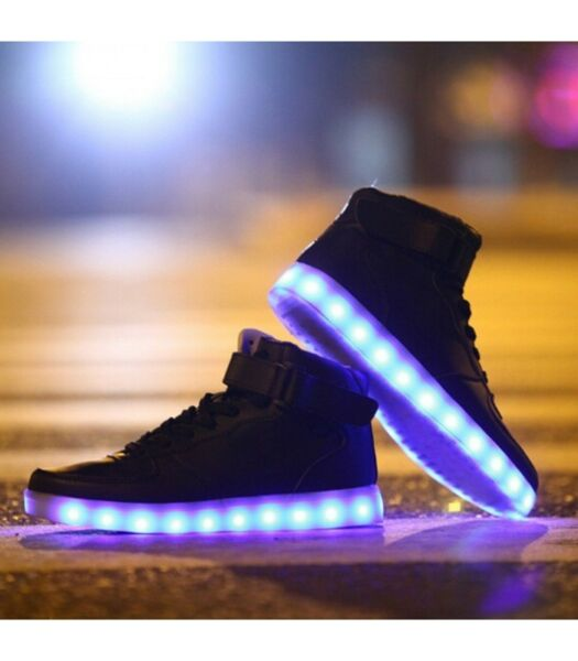 Glidekicks Men's Light Up LED Shoes Sneakers Black High Top Luminous Sneakers