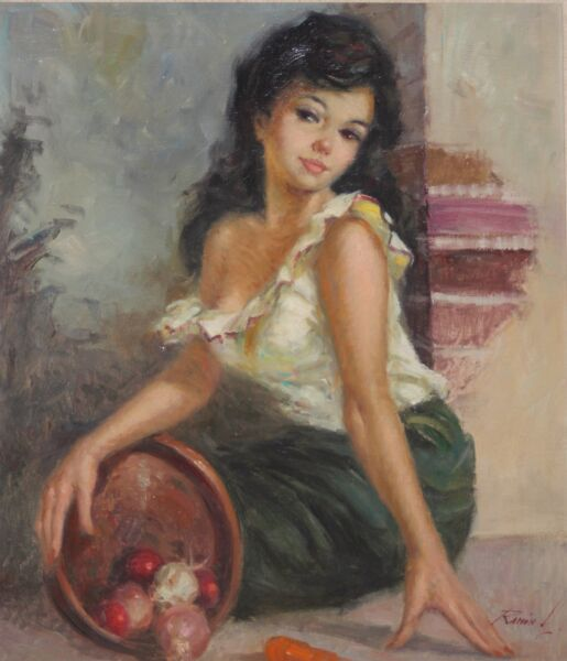 RAMON KELLEY-WYCOAWS Realist-Large Original Signed Oil-Young Female Portrait