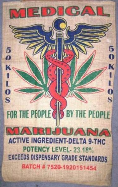 MEDICAL MARIJUANA printed BURLAP BAG 015 pot leaf sack bags reefer storage NEW