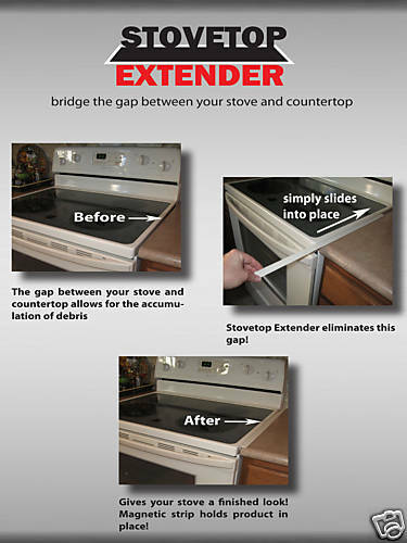STOVETOP EXTENDER~(ONE IN A PAK)~BLACK~~FITS BETWEEN STOVE & COUNTER