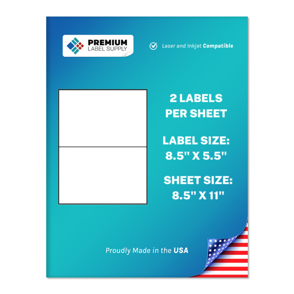 1000 Premium 8.5quot; X 5.5quot; Half Sheet Self Adhesive Shipping Labels PLS Brand