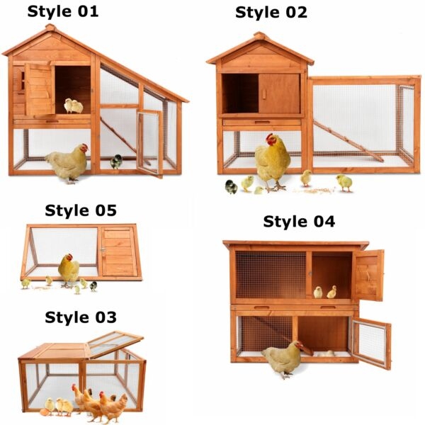 Wooden Chicken Coop Hen Rabbit Small Animal Pet Poultry WRun Hutch Cage House
