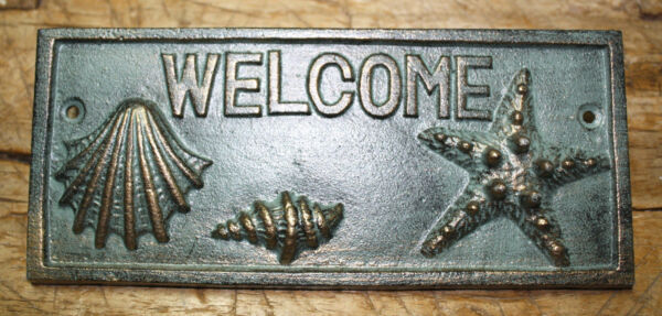Cast Iron SEASHELL WELCOME Plaque Sign Nautical Wall Pool Home Decor STARFISH $4.99