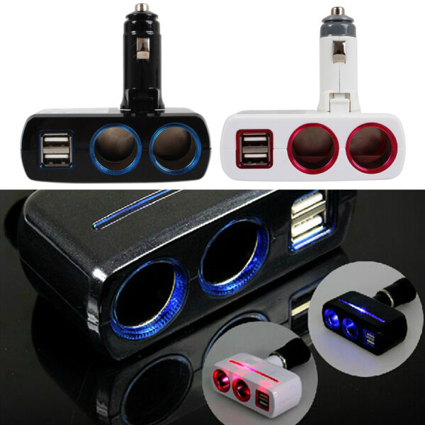 Socket Adapter Splitter Dual 2 USB Port Charger DC 12V 24V Car Cigarette Lighter