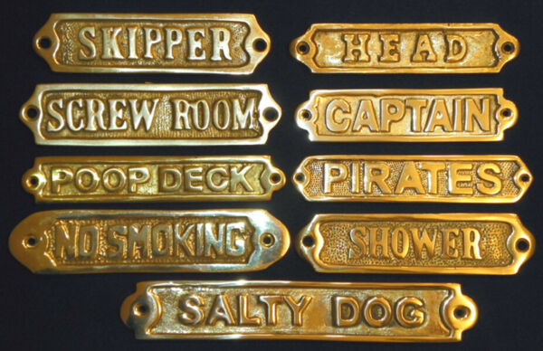 Solid Brass Door Sign Nautical Wall Plaque Decor  (Screws Included)  $13.00