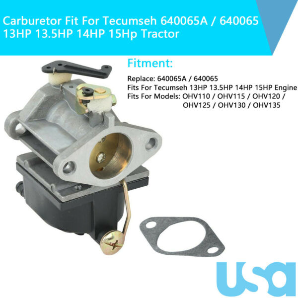 Carburetor Carb 640065 640065A fit Tecumseh 13HP 13.5HP 14HP 15Hp Engine Tractor