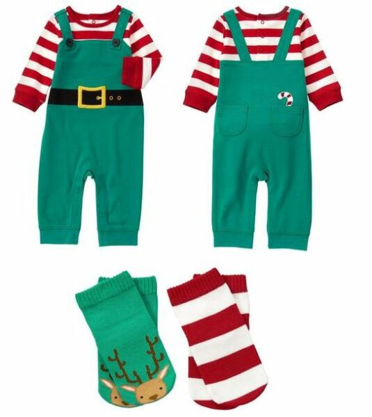 Gymboree Baby Boys Elf One Piece Outfit Set + Socks NEW Tags Christmas Holiday