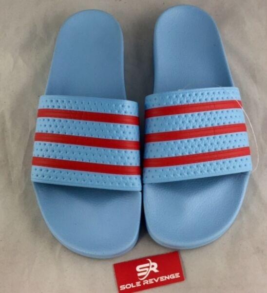 New Adidas ADILETTE Slides Sandals Mens Blue Orange Beach Flip Flops S78686 x1