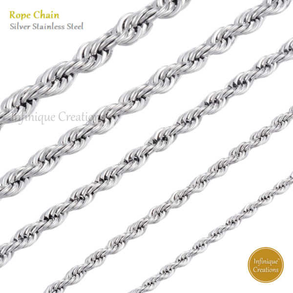 Stainless Steel Silver Rope Chain Bracelet Necklace Men Women 2mm to 8mm $6.59