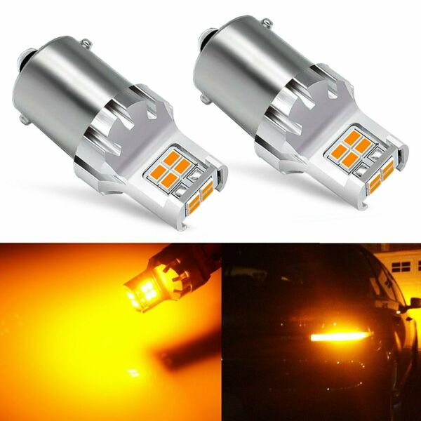 JDM ASTAR 2x Amber Yellow 1156 BA15S Turn Signal Corner Light 3020 SMD LED Bulbs