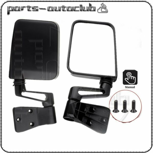 Manual Rear View Mirrors For 1987-02 Jeep Wrangler Passenger Driver Side Pair