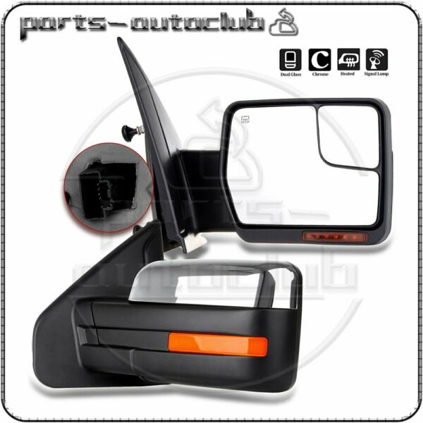 2007-14 Ford F150 Power Heated Puddle Signal Chrome Side View Mirrors Pair Set
