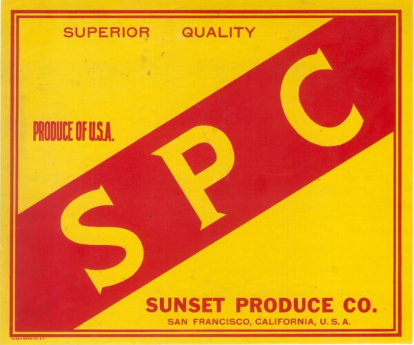 SPC CRATE LABEL SAN FRANCISCO VINTAGE ADVERTISING APPLE RARE 1930 SUNSET PRODUCE