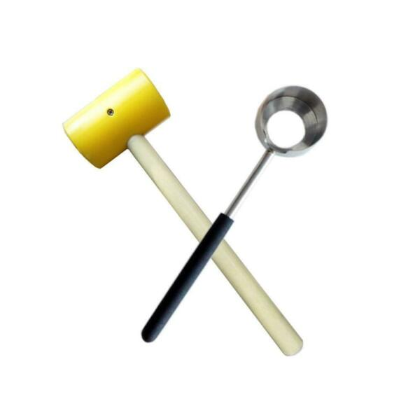 Young Coconut Opener Set, Stainless Steel & Rubber Mallet (NOT CocoJack Brand)
