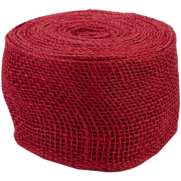 Kel Toy Jute Burlap Ribbon Roll 4 Inch by 10 Yard Red